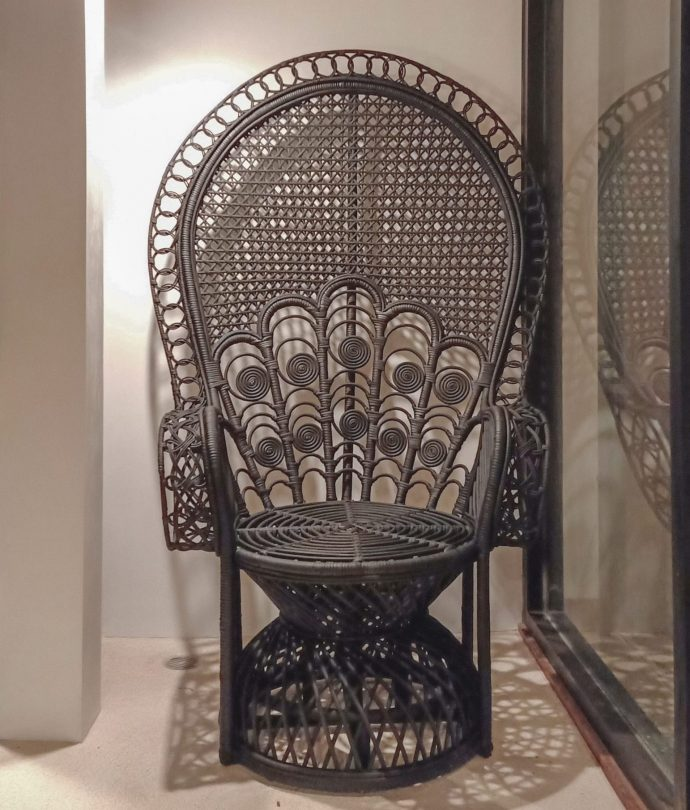black rattan peacock chair