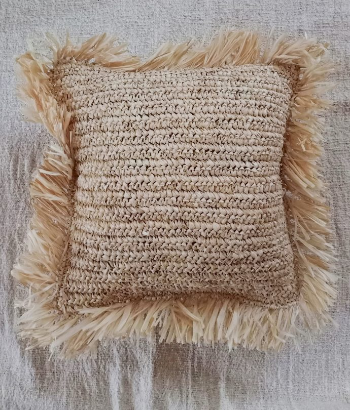 natural raffia fringe pillow cover