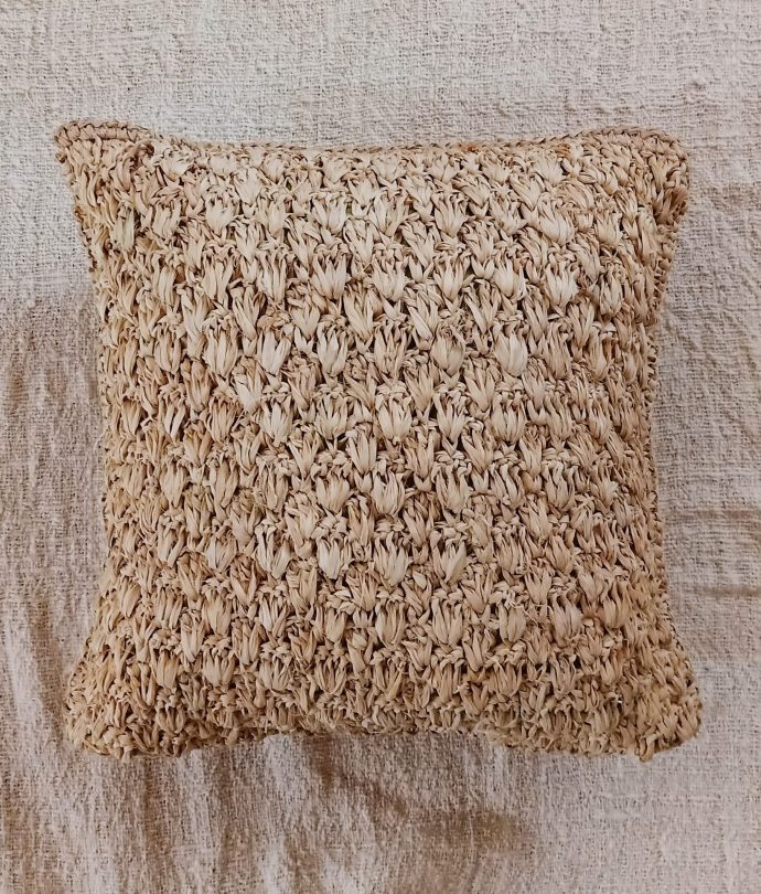 natural raffia cushion cover