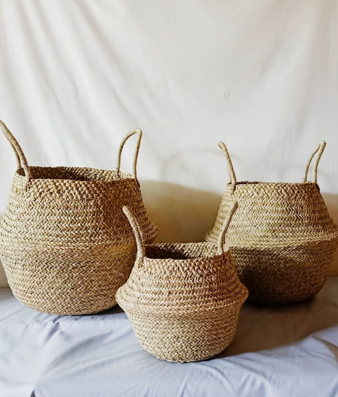 hand woven seagrass basket